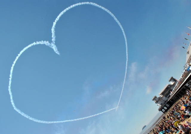 This was shot like this purely to fit the pier and the Red Arrows heart in the frame!
